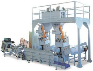 Podwójny automat pakujący produkt w worki wentylowe z prędkością 600 worków/h z modułem zaklejania wentyla