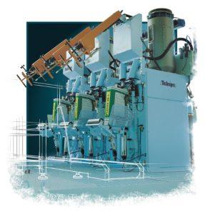 Moduł trzech automatycznych maszyn do pakowania cementów w worki wentylowe o wadze 25-50 kg