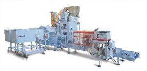 Automat pakujący produkt w worki wentylowe i zaklejający wentyl worka z systemem prasowania zapakowanego worka.
