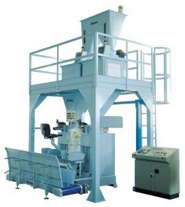 Maszyna półautomatyczna pakująca produkty w worki wentylowe o wadze 25-50 kg