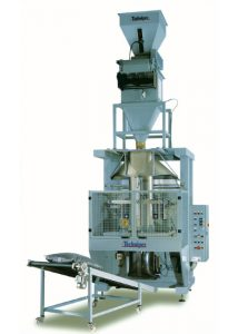 TECNO-V - automat pakujący produkty w worki polietylenowe wykonane przez maszynę z folii płaskiej (najtańsze jednostkowe opakopwania)