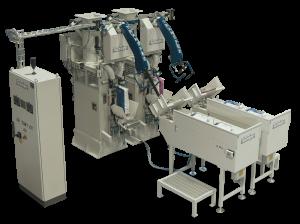 Moduł dwóch automatycznych maszyn do pakowania cementów za pomocą powietrza w worki wentylowe o wadze 25-50 kg